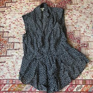 Pintuck, peplum dotted Odille Anthropologie blouse